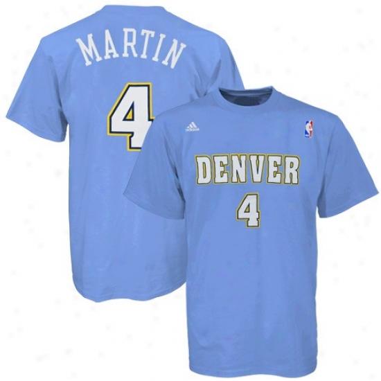 Nuggets Tshirts : Adidas Nuggets #4 Kenyon Martin Liight Blue Net Tshirts