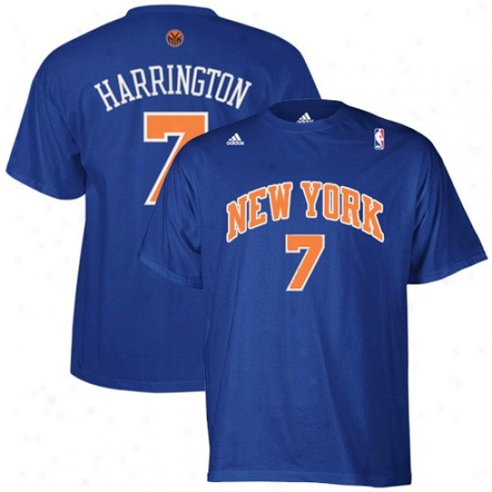N.y. Knick Attire: Adidas N.y. Knick #7 Al Harrington Royal Blue Net Player T-shirt