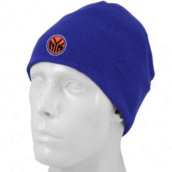 Ny Knick Gear: Adidas Ny Knick Royal Blue Knit Beanie Cap