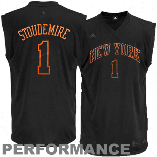 N.. Knick Jerseys : Adidas Amare Stoudemire N.y. Knick New Replic aPerformance Jersey-black-on-black