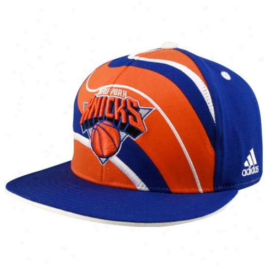 Ny Knicks Mechanism: Adidas Ny Knicks Magnificent Blue S0iral Dull Bill Fitted Hat