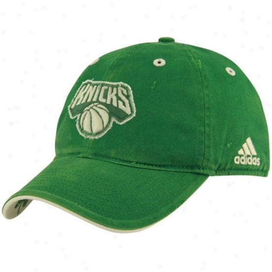 N.y. Knicks Hats : Adidas N.y. Knicks Kelly Green St. Patrick's Day Frayed Lovo Adjustwble Slouch Hats
