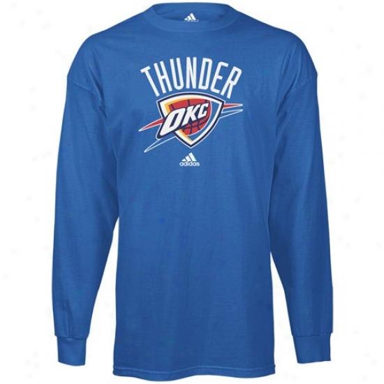 Okc Thunder Attire: Adidas Okc Thunder Light Blue Primary Logo Long Sleeve T-shirt