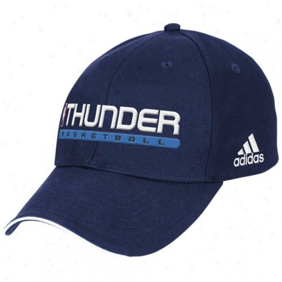 Okc Thunder Gear: Adidas Okc Thunder Navy Blue True Court Adjustable Hat