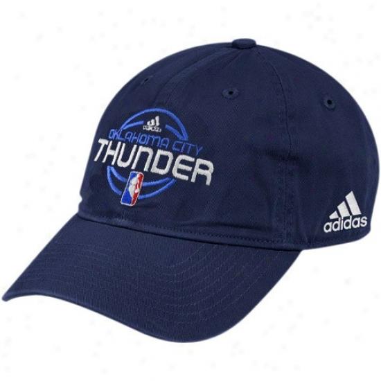 Okc Thunder Commodities: Adidas Okc Thunder Navy Blue Team Logo Ajdustable Slouch Hat
