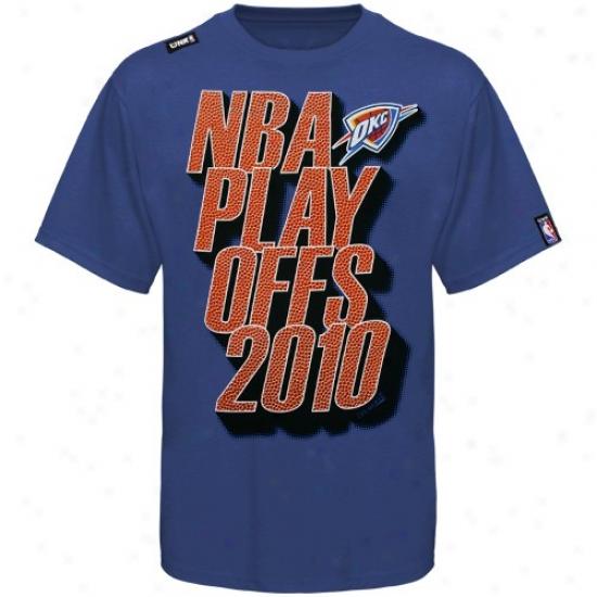 Okc Thunder T Shirt : Okc Thunder Royal Blue Stacked Playoffs T Shirt