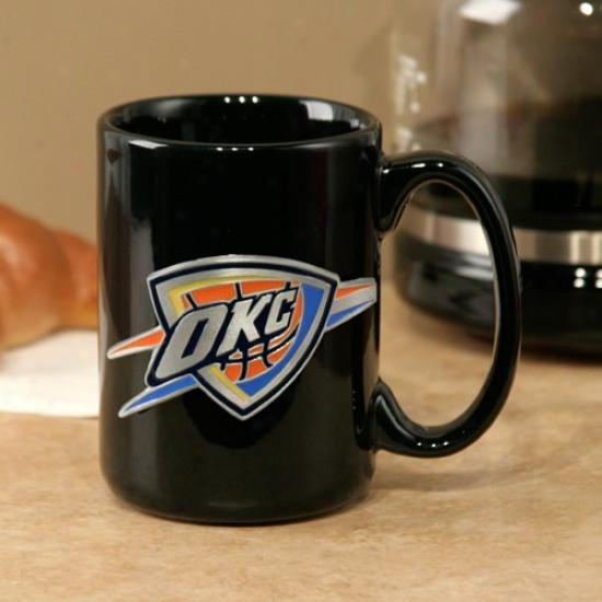Oklahoma City Thunder Black 15oz. Pewter Logo Ceramic Mug