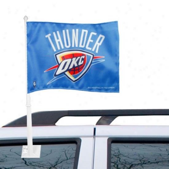 Oklahoma City Thunder Flag : Oklahoma City Thunder Light Blue Car Pall