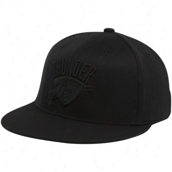 Oklahoma City Thunder Hatt : AdidasO klahoma City Tnunder Black Tonal 210 Fitted Flex Hat