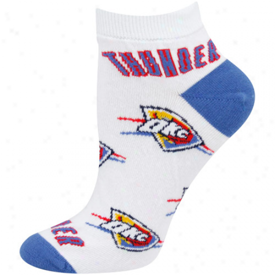 Oklahoma City Thunder Ladies White All Past Team Logo Ankle Socks