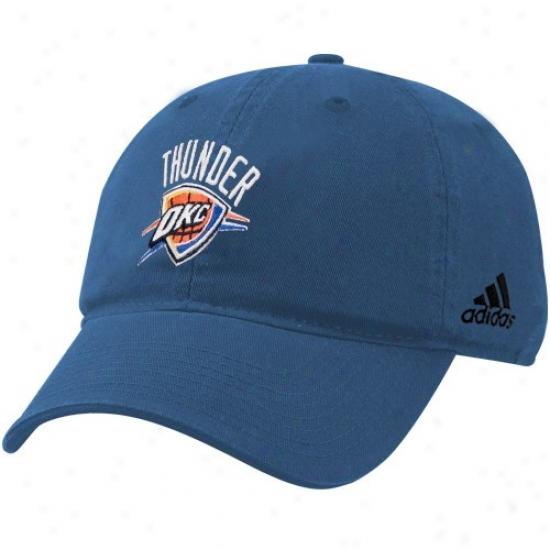 Oklahoma City Thunder Merchandise: Adidas Oklahoma City Thunder Light Blue Basic Logo Flex Fit Hat