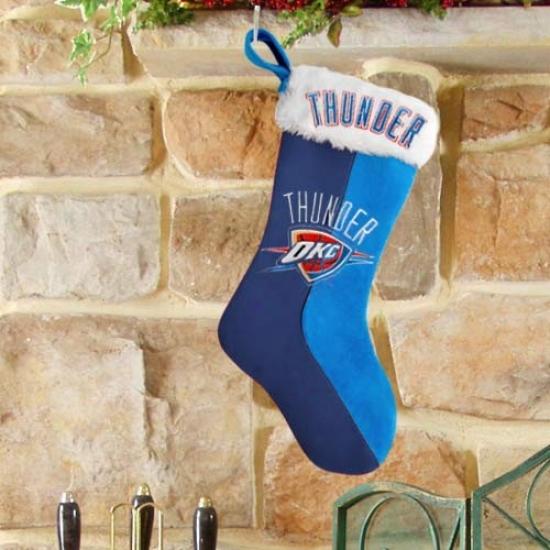 Okpahoma City Thunder Navy Blue-oight Blue Plush Stocking