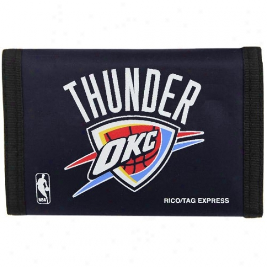 Oklahoma City Thunder Navy Blue Nylon Tri-foldW allet