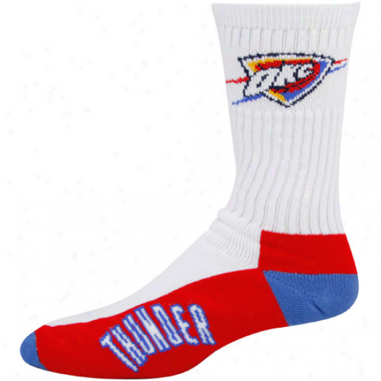 Oklahoma City Thunder White Tri-color Team Logo Tall Socks