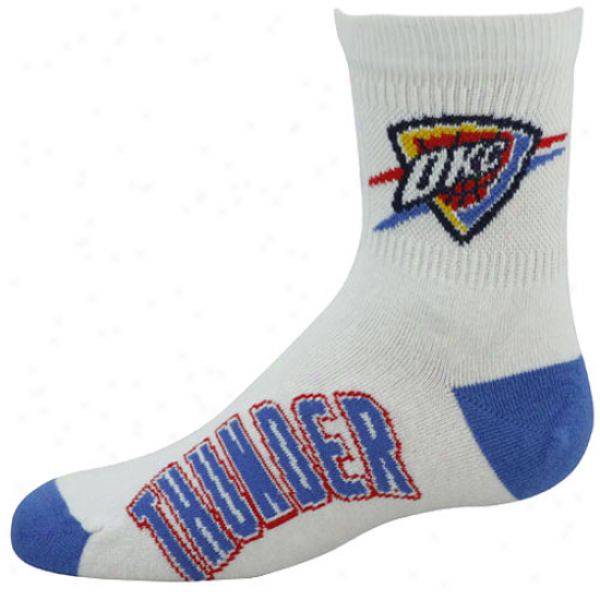 Oklahoma City Thunder Youth White-light Blue Quarter Length Socks