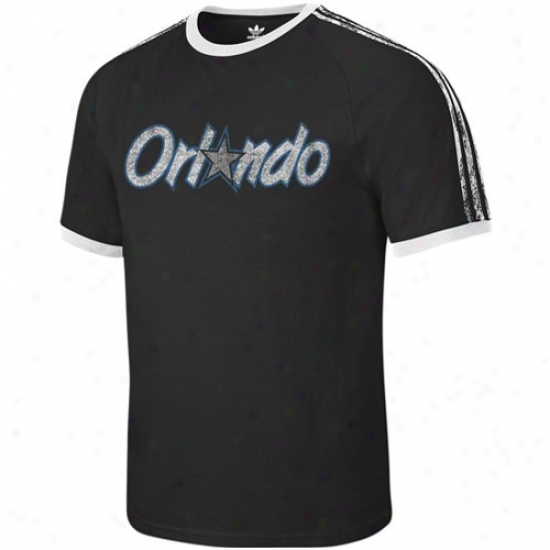 Orlando Sorcery Apparel: Adidas Orlando Magic Black Distressed Throwbsck Logo Ringer T-shirt