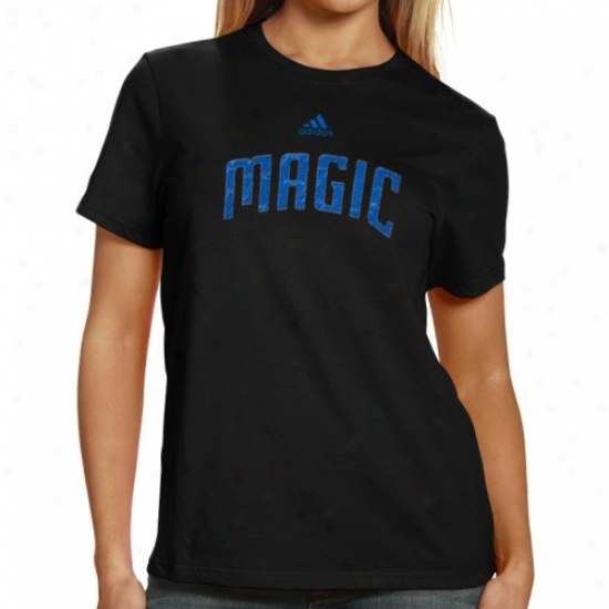 Orlando Magic Appparel: Adidas Orlando Magic Ladies Black Inner Thoughts Silky Smooth T-shirt