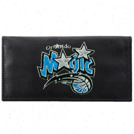 Orlando Magic Black Leather Embroidered Checkbook Cover