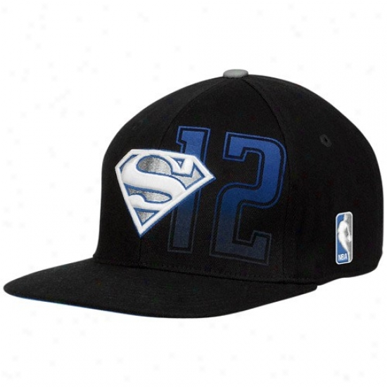 Orlando Magic Cap : Adidas Orlando Magic #12 Dwight Howard Superman Logo Black Flex Cap