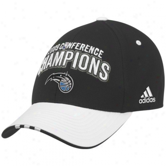 Orlando Magic Gear: Adidas Orlando Magic Black-white 2009 Nba Eastern Conference Champions Locker Room Flex Fit Cardinal's office