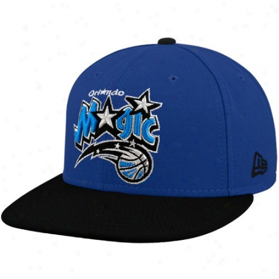 Orlando Magic Gear:N ew Erz Orlando Witchery Royal Blud-black 59fifty Primary Logo Flat Brim Fitted Hat