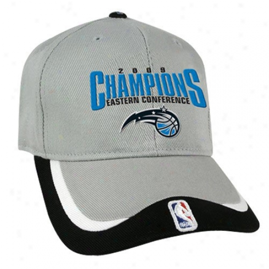 Orlando Magic Hat : Orlando Magic Black-gray 2009 Nba Eastern Conference Champions Adjustable Hat
