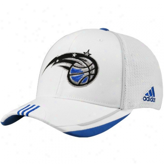 Orlando Magic Hats : Adidas Olando Magic White 2010 Official On-court Mesh Back Flex Fit Hats