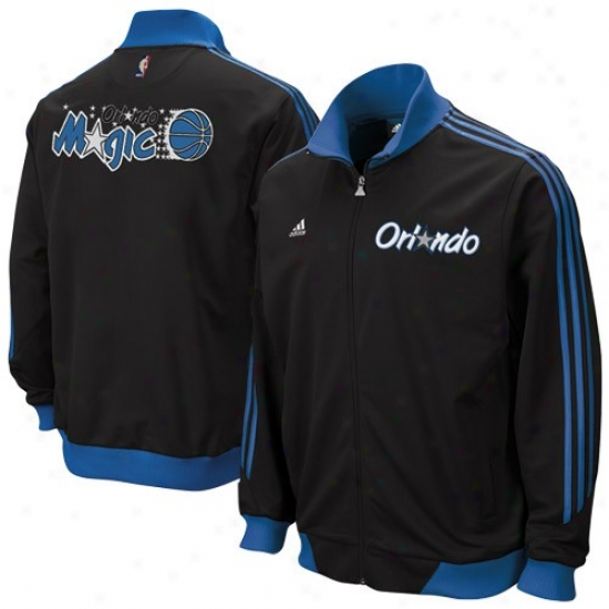 Orlando Magic Jackets : Adidas Orlando Magic Blafk Logo Complete Zip Track Jacoets