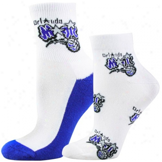 Orlando Magic Ladies White Two-pack Quarter & Footie Logo Socks