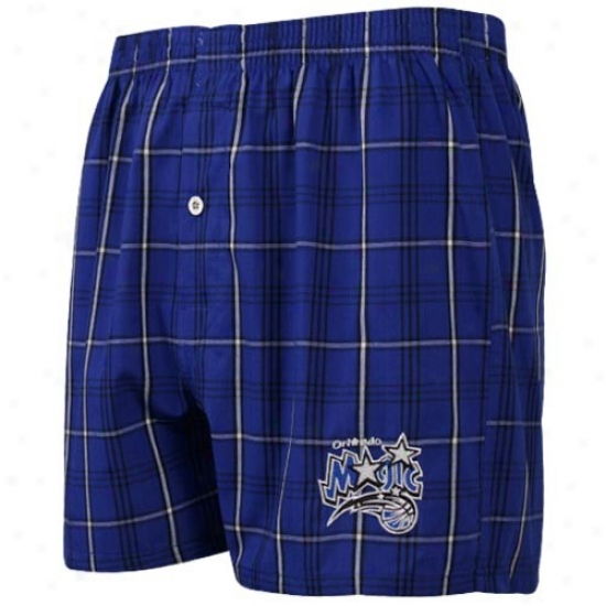 Orlando Magic Royal Blue Plaid Genuine Boxer Shorts