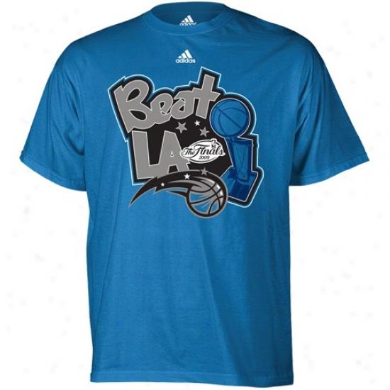 Orlando Magic T-shirt : Adidas Orlajdo Magic 2009 Nba Finals Light Blue Beat La T-shirt