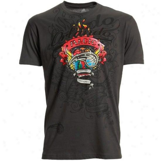 Orlando Magic T Shirt : Adidas Orlando Magic Charcoal Flame Thrower Super Soft Premium T Shirt