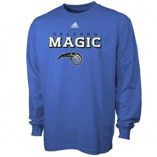 Orlando Magic T-shirt : Adidas Orlanro Magic Royal Blue True Long Sleeve T-shirt