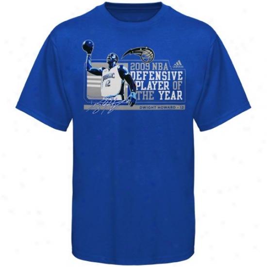 Orlando Magic Tees : Adidas Orlando Magic #12 Dwight Howard Royal Blue Nba Defensivr Player Of The Year Tees