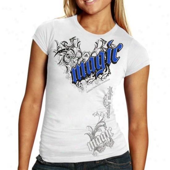 Orlando Magic Tees : Adidas Orlando Magic Ladies White Fillagree Tees