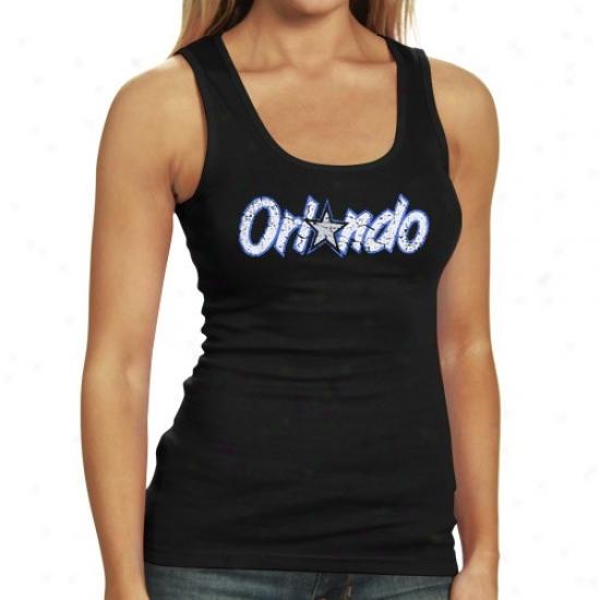 Orlando Magic Tshirts : Orlando Magic Ladies Black Hardwood Tank Top