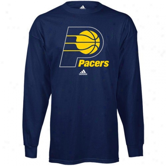 Pacers Attire: Adidas Pacers Navy Blue Primary Logo Long Sleeve T-shirt