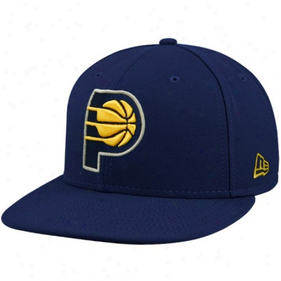 Pacers Hat : New Era Pacers Navy Blue 59fifty Primary Logo Flat Brim Fitted Cardinal's office