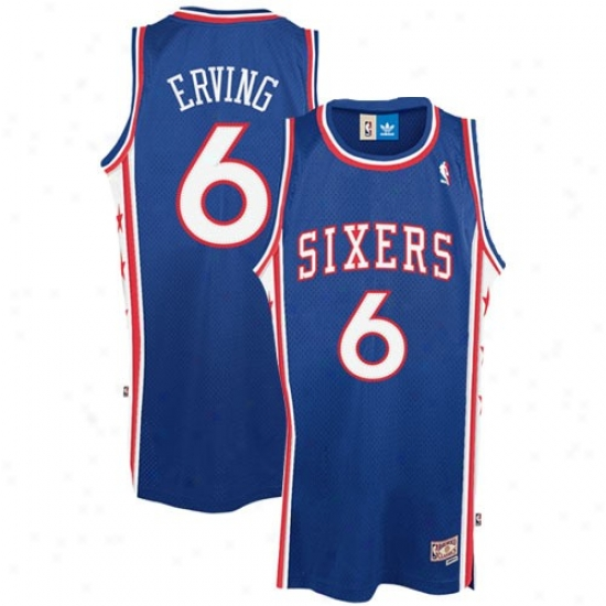 Philadelphia 76er Jersey : Adidas Philadelphia 76er #6 Julius Erving Royal Blue Hardwood Classsic Swingman Basketball Jersey