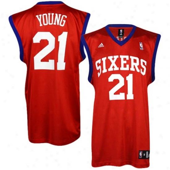 Philadelphia 76er Jersey : Adidas Philadelphia 76er #21 Thaddeus Young Red Replica Basketball Jersey