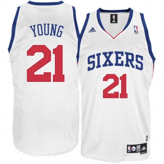 Philadelphia 76er Jersey : Adidas Philadelphia 76er #221 Thaddeus Young Youth Pale Swingman Basketball Jersey