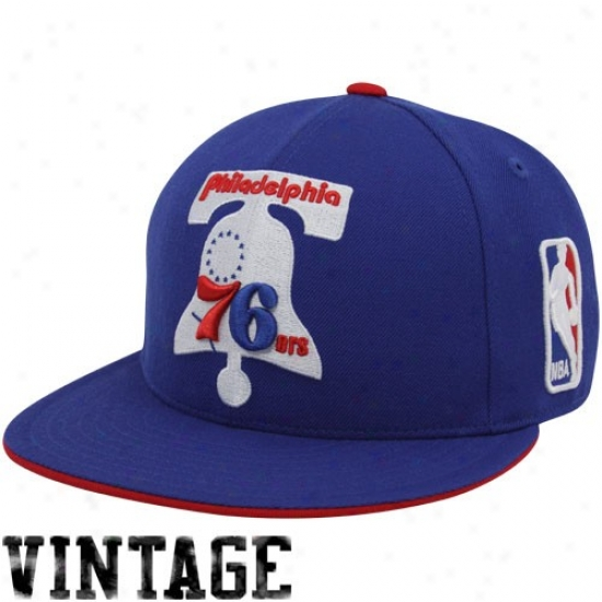 Philadelphia 76er Merchandise: Mithchell & Ness Philadelphia 76er Royal Blue Vintage Logo Fitted Hat