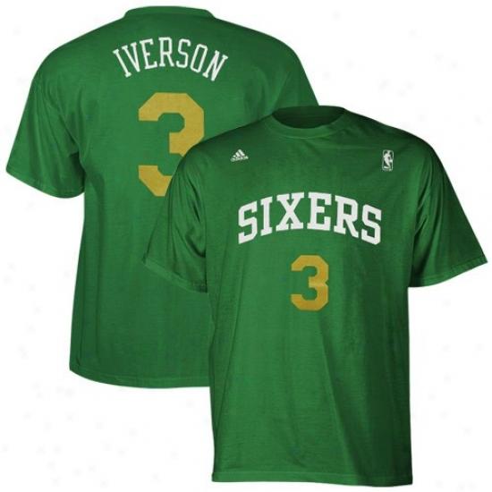 Philadelphia 76er T Shirt : Adiidas Philadelphia 76er #3 Allen Iverson Kelly Green Player T Shirt