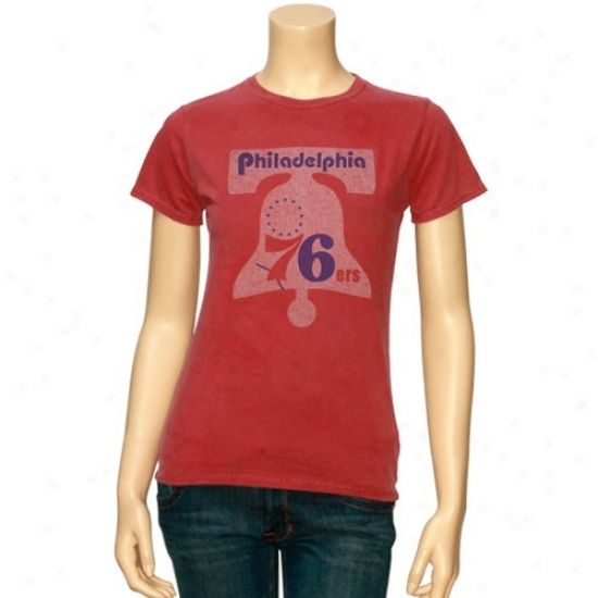 Philadelphia 76er T-shirt : Junk Food Philadelphia 76er Ladies Heather Red Junior Retro Logo Premium T-shirt