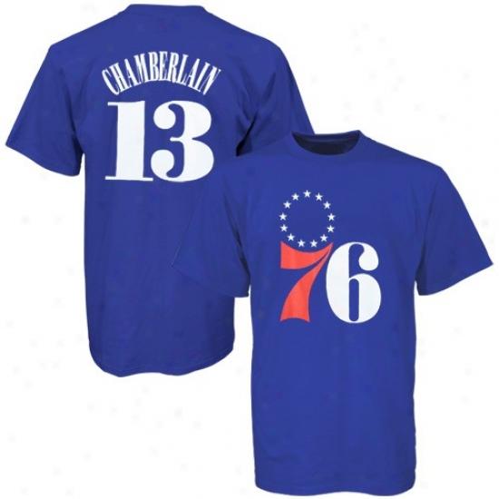 Philadelphia 76er T-shirt : Majestic Philadelphia 76er #13 Wilt Chamberlain Royal Blue T-shirt