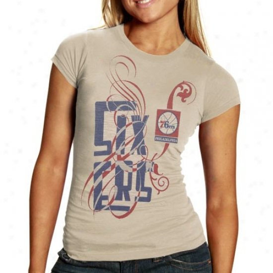 Philadelphia 76er T-shirt : Philadelphia 76er Ladies Cream Graffiti Script Pemium Slub T-shirt