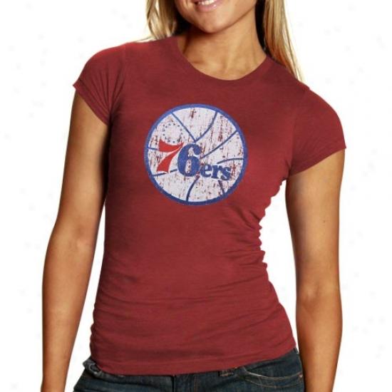 Philadelphia 76er T-shirt : Philadelphia 76er Ladies Red Basic Logo Triblend T-shirt