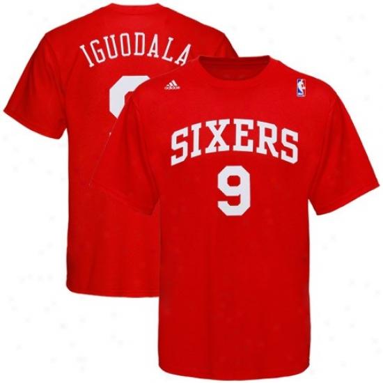 Philadelphia 76er Tee : Adidas Philadelphia 76er #9 Andre Iguodala Red Player Tee