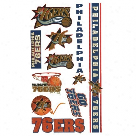 Philadelphia 76ers 4'' X 7'' Temporary Tattoo Sheet