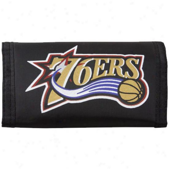 Philadelphia 76ers Black Nylon Tri-fold Wallet
